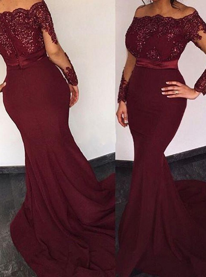 Mermaid Off-the-Shoulder Long Sleeves Sweep Train Burgundy Prom Dress with Beading фото