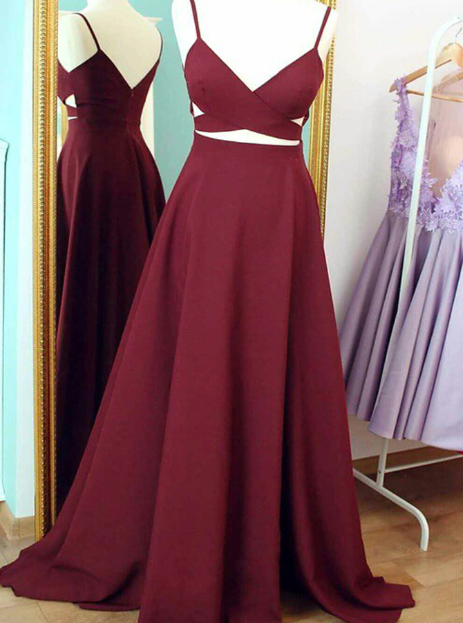 A-Line V-Neck Sleeveless Floor-Length Burgundy Prom Dress with Ruched фото