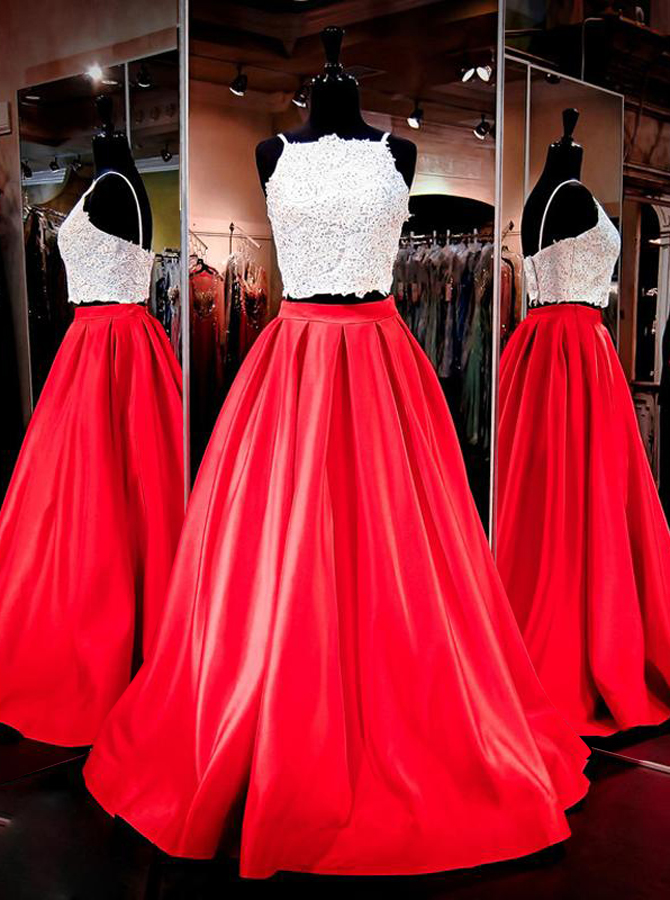 Two Piece Square Neck Floor-Length Ruched Red Prom Dress with Beading Pockets фото