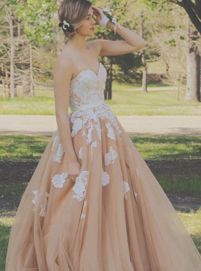 A-Line Sweetheart Floor-Length Champagne Prom Dress with Sash Appliques