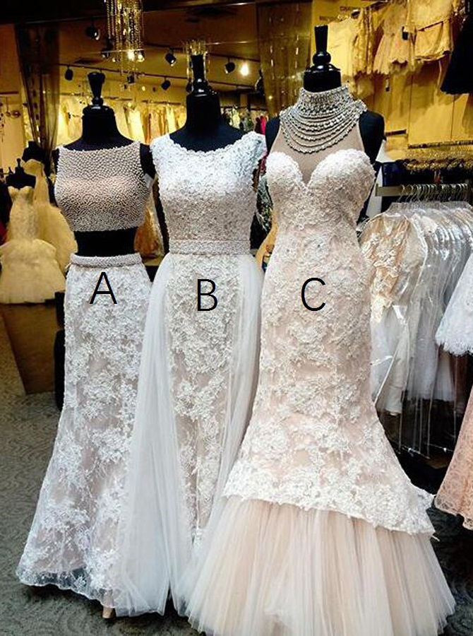 Two Piece Bateau Floor-Length White Lace Prom Dress with Beading фото