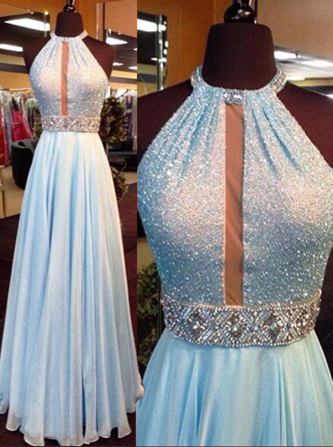 A-Line Jewel Sleeveless Light Blue Chiffon Prom Dress with Beading Sequins фото