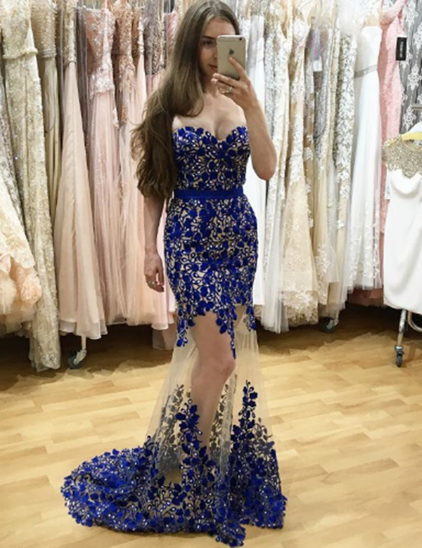 Mermaid Sweetheart Floor-Length Royal Blue Tulle Prom Dress with Lace фото