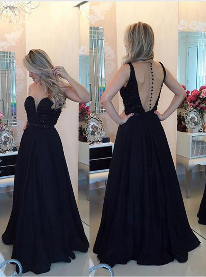 Simple-dress / A-Line Jewel sleeveless Floor-Length Black Stretch Satin Prom Dress with Beading