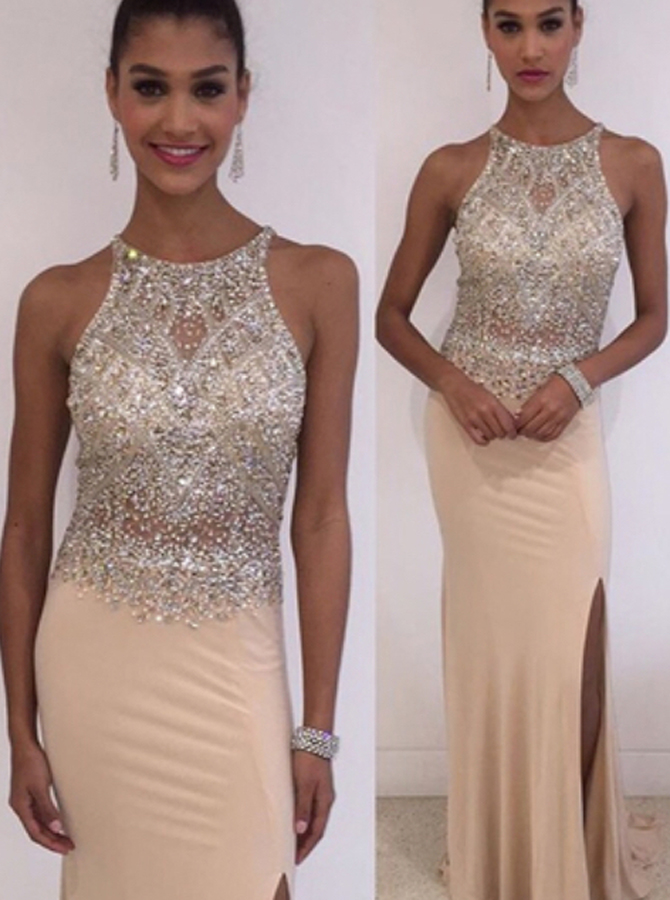 Mermaid Jewel Sleeveless Floor-Length Pearl Pink Spandex Prom Dress with Beading фото
