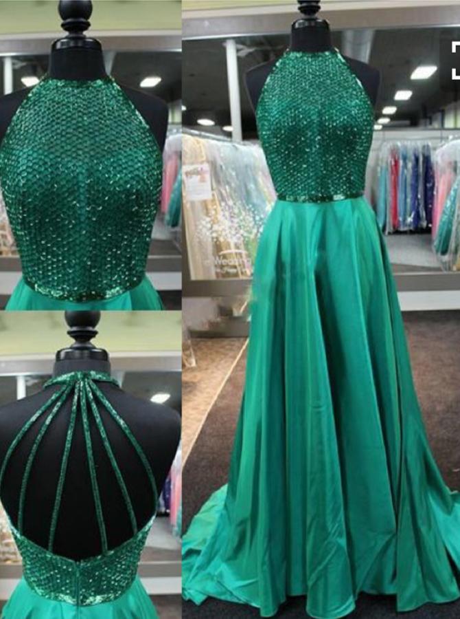 A-Line Jewel Sleeveless Sweep Train Green Stretch Satin Dress with Beading Backless фото