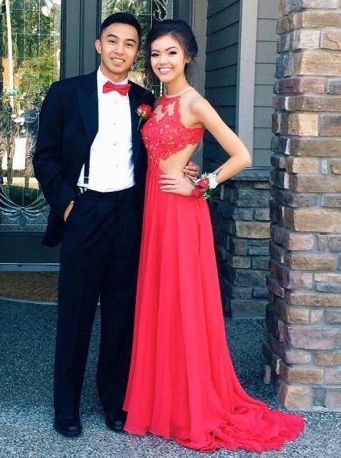 Simple-dress / A-Line Jewel Floor-Length Open Back Red Chiffon Prom Dress with Lace Top