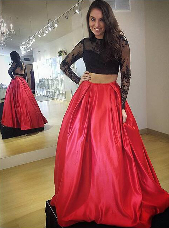 Two Piece Jewel Floor-Length Long Sleeves Backless Red Satin Prom Dress with Lace Top