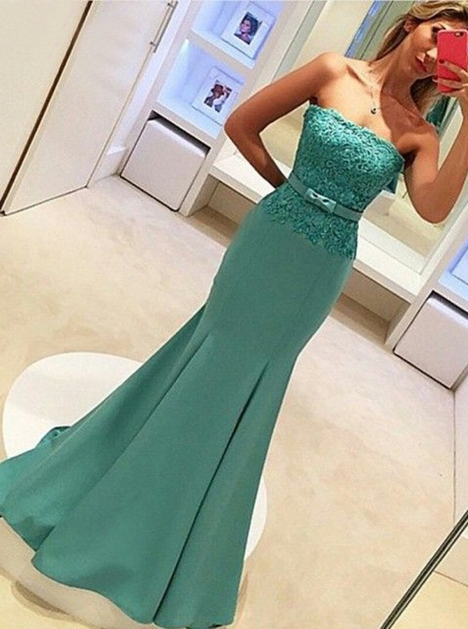 Mermaid Strapless Sweep Train Blue Prom Dress with Lace Top Bowknot фото