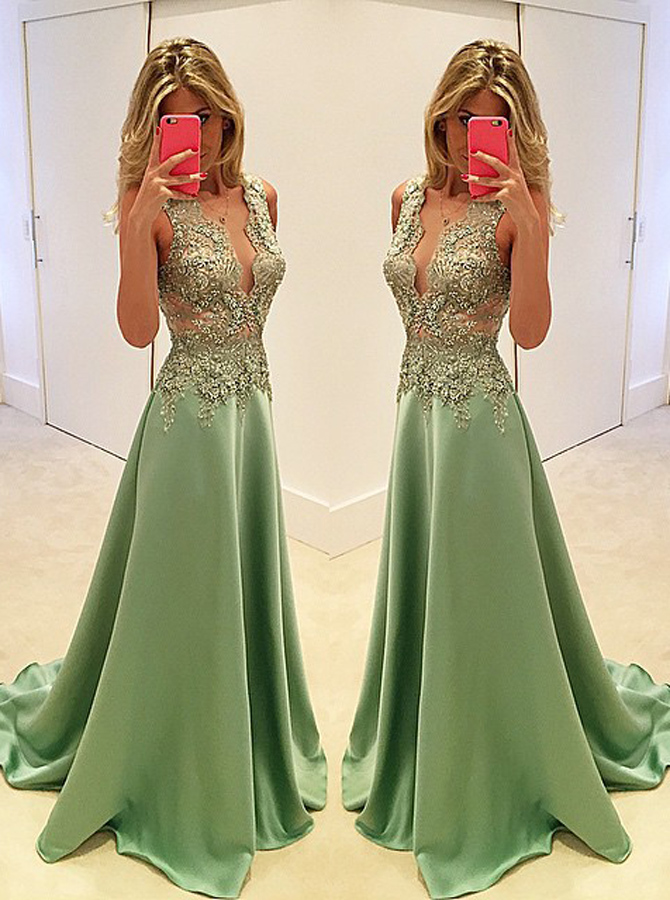 A-Line Deep V-Neck Sweep Train Mint Stretch Satin Prom Dress with Appliques фото