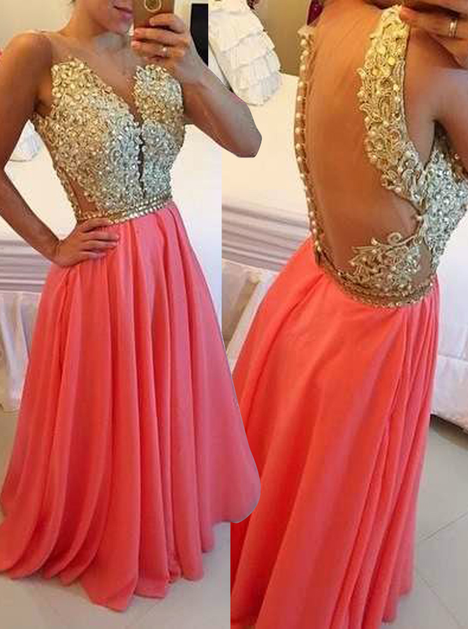 A-Line Jewel Floor-Length Coral Chiffon Prom Dress with Appliques Beading фото