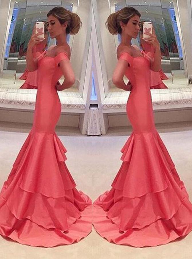 Mermaid Off-the-Shoulder Sweep Train Short Sleeves Coral Taffeta Prom Dress