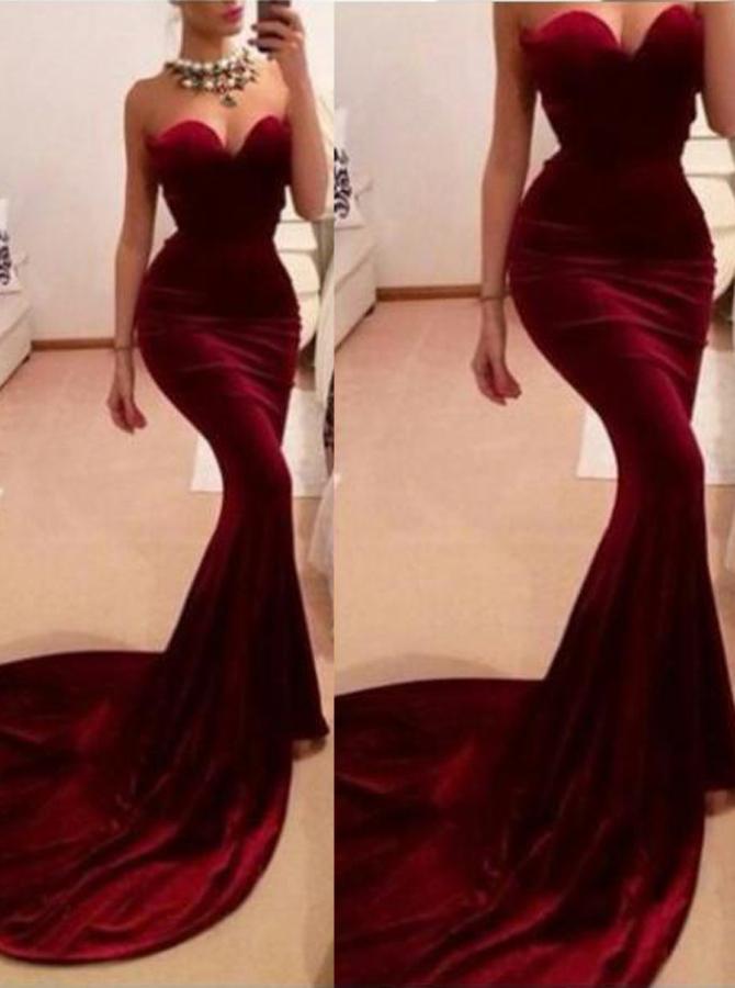 Mermaid Sweetheart Sleeveless Sweep Train Burgundy Velet Prom Dress фото