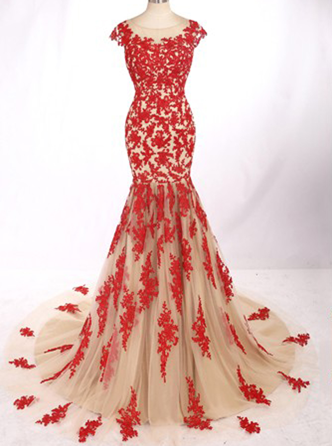 Modern Jewel Cap Sleeves Sweep Train Mermaid Prom Dress with Red Lace Backless фото