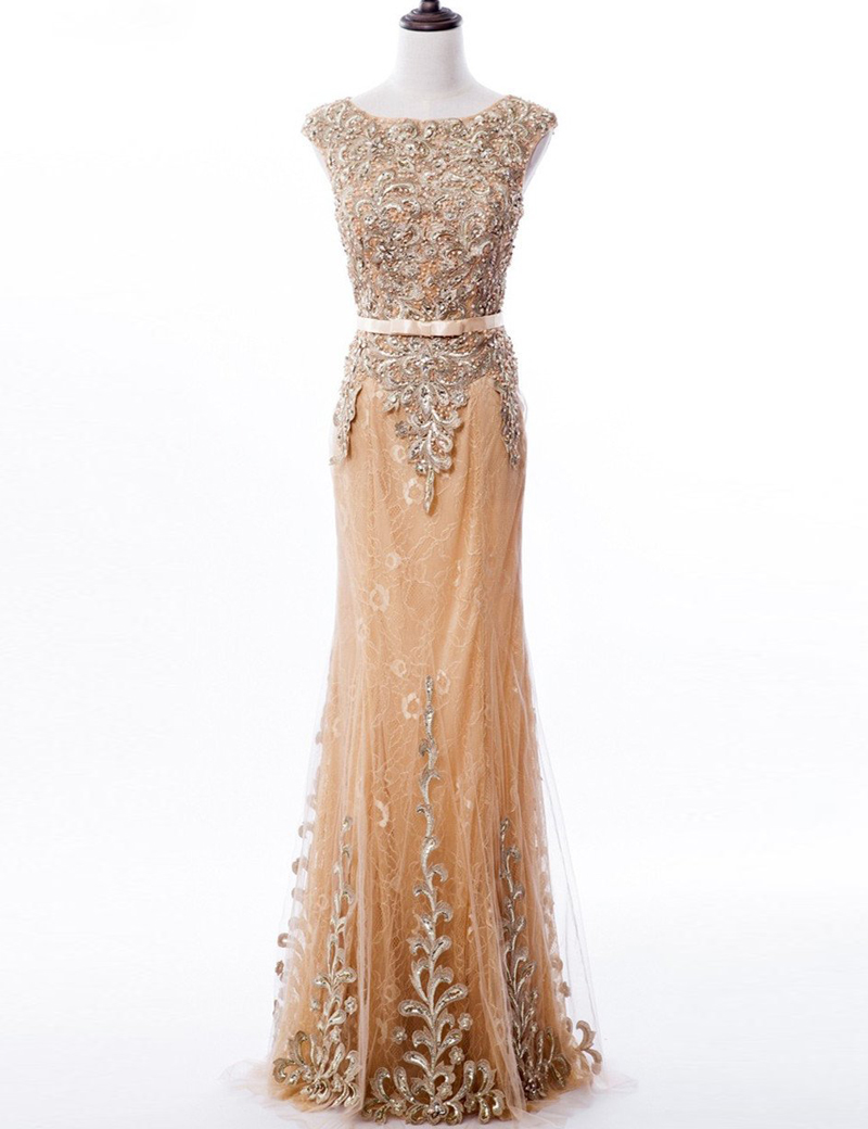 Elegant Mermaid Lace SleevelessPearls Long Prom Dress with Sash Beading, Champagne