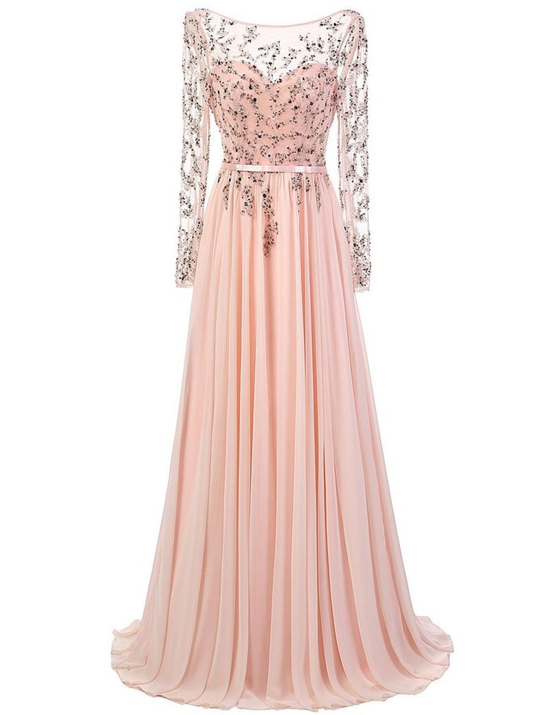 Dramatic A-Line Bateau Long Sheer Sleeves Backless Beading Long Prom Dress with Sash фото
