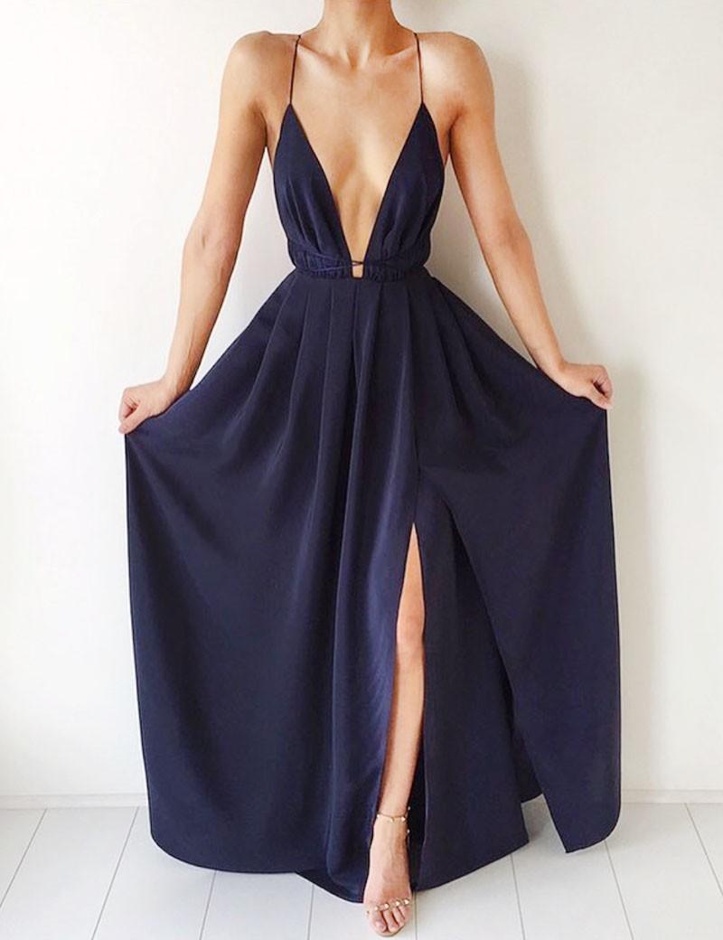 A-Line Deep V-Neck Floor-Length Criss-Cross Straps Split-Side Navy Blue Chiffon Prom Dress