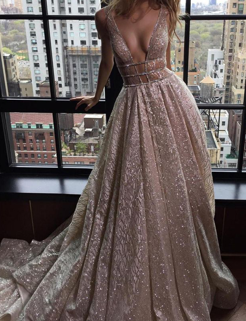 A-Line Deep V-Neck Backless Silver Sequined Prom Dress with Beading фото