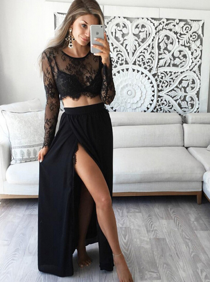 Stunning Two Piece Jewel Long Sleeves Black Prom Dress with Lace Top