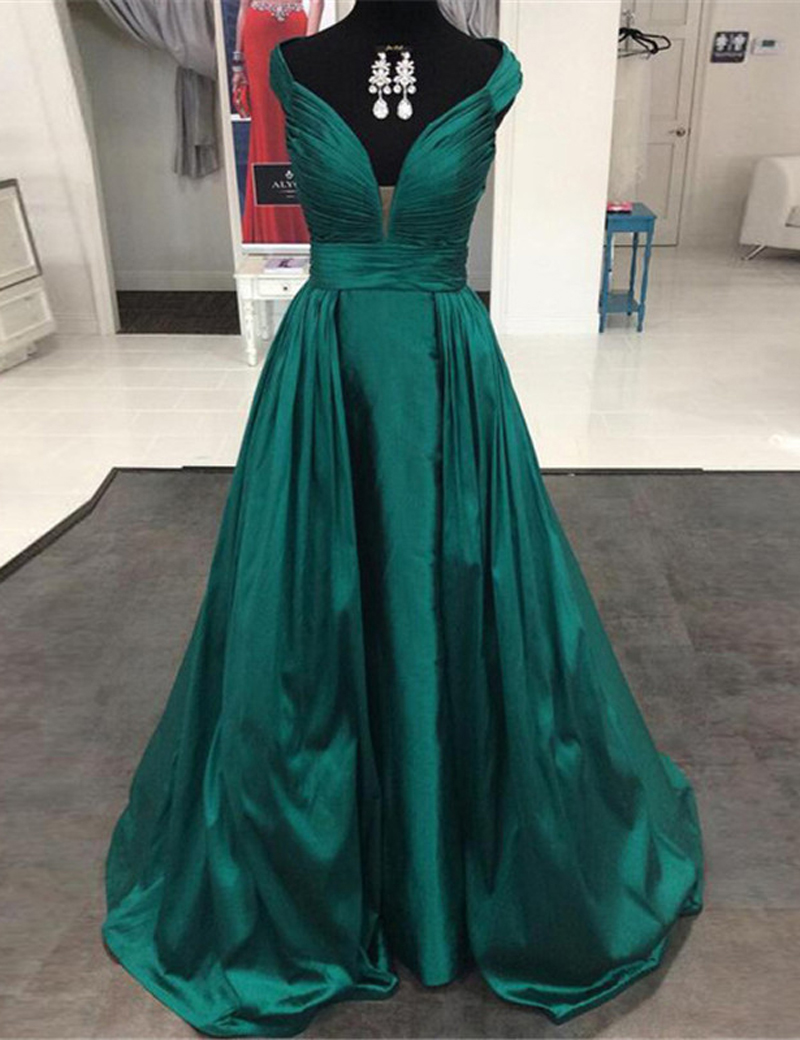 A-Line V-Neck Cap Sleeves Dark Green Prom Dress with Pleated фото