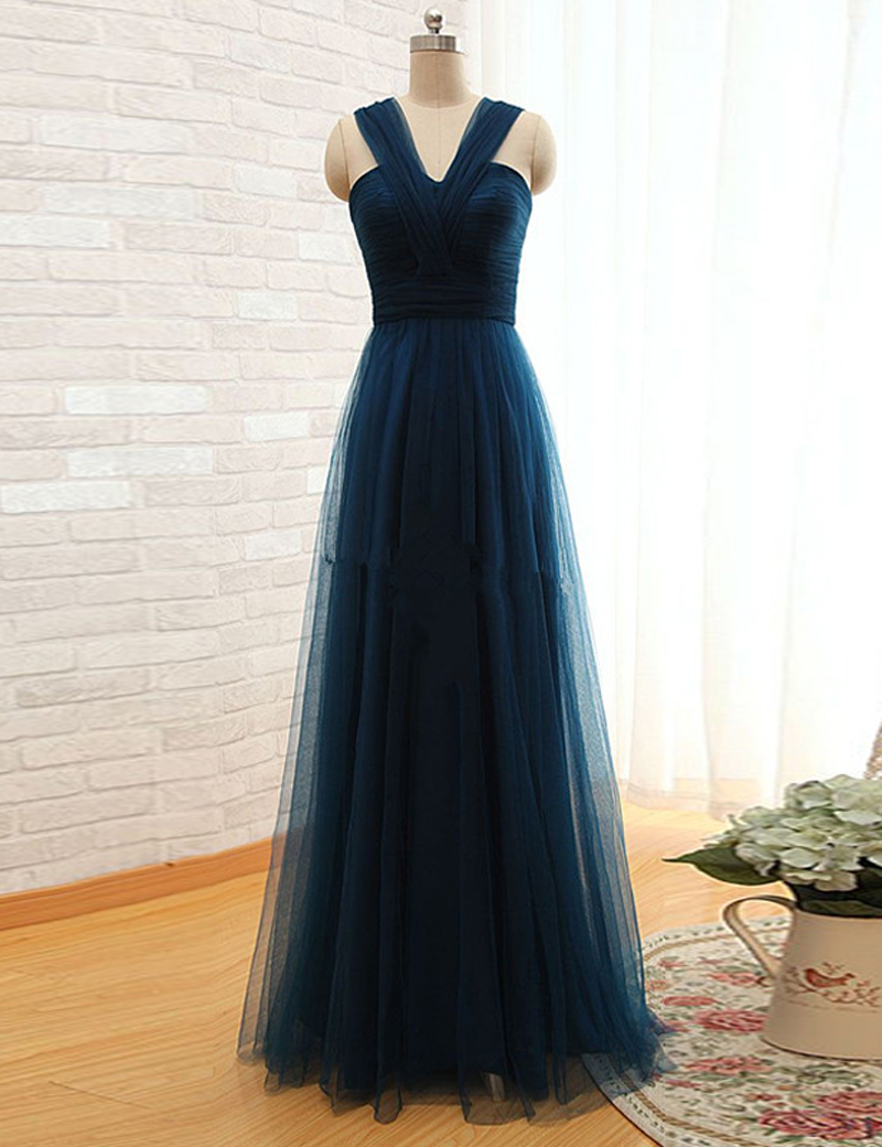A-Line V-Neck Floor Length Pleated Navy Blue Prom Dress with Bowknot thumbnail