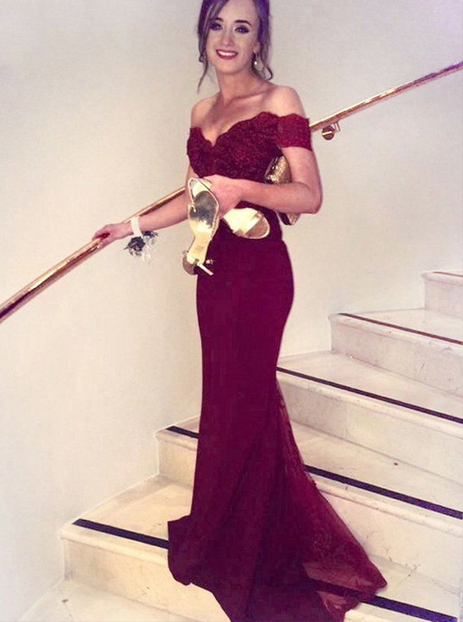 Simple-dress / Mermaid Off-the-Shoulder Long Burgundy Satin Prom Dress with Lace Top