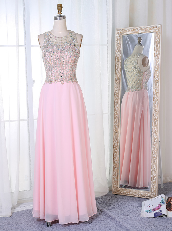 A-Line Round Neck Floor-Length Pearl Pink Chiffon Beaded Prom Dress фото