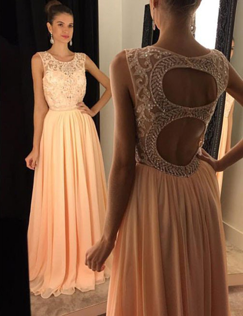 Simple-dress / A-Line Round Floor-Length Open Back Peach Chiffon Prom Dress with Beading