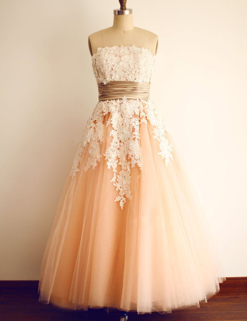 A-Line Strapless Sleeveless Ankle-Length Coral Tulle Prom Dress with Appliques фото