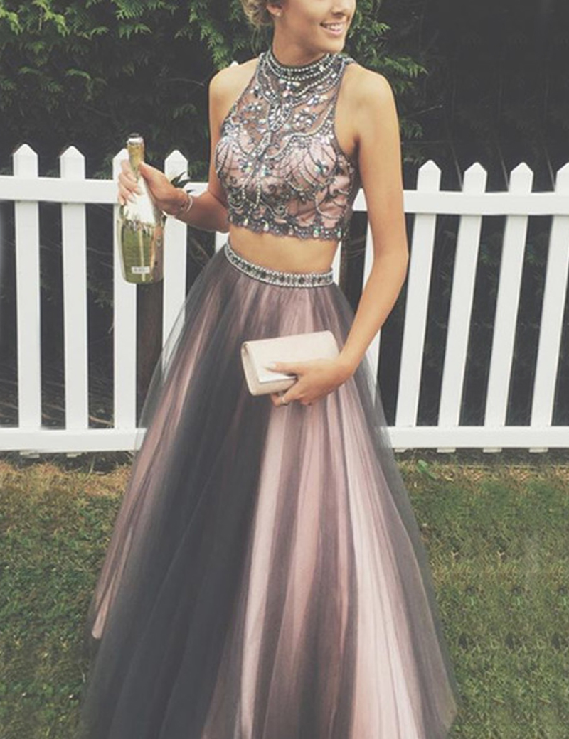 A-Line High Neck Sleeveless Floor-Length Grey Prom Dress with Beading фото