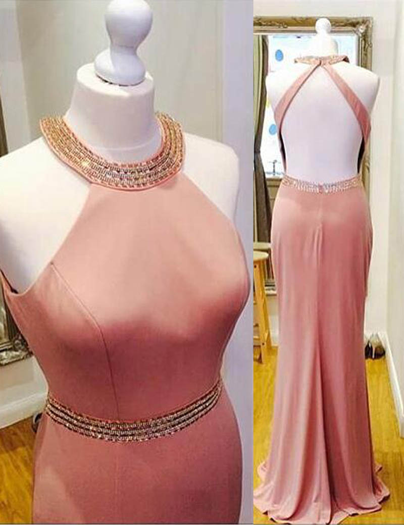 Sheath Halter Sleeveless Floor-Length Backless Blush Prom Dress with Beading фото