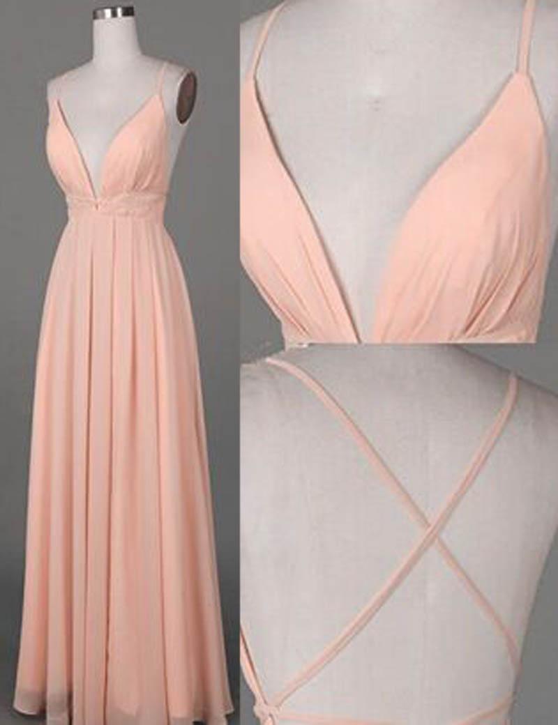 A-Line Spaghetti Straps Floor-Length Criss-Cross Straps Peach Prom Dress фото