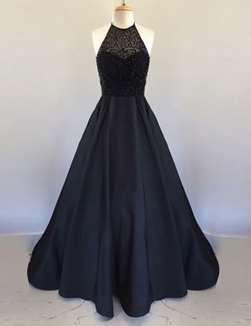 Simple-dress / A-Line Halter Floor Length Black Satin Prom Dress with Beading