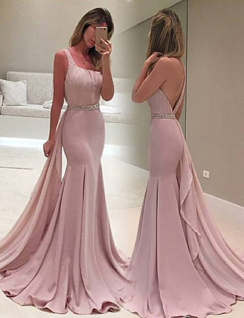 Mermaid One Shoulder Watteau Train Blush Prom Dress with Beading Ruffles thumbnail