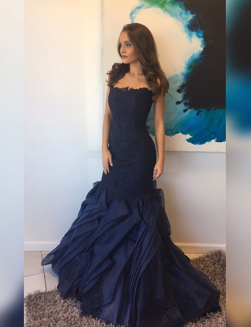 Mermaid Strapless Sweep Train Navy Blue Organza Tired Prom Dress with Lace фото