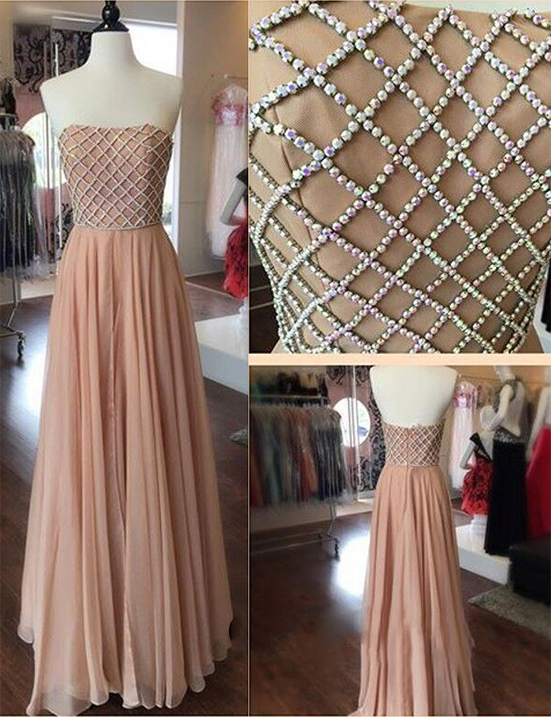 A-Line Strapless Floor Length Pleated Blush Prom Dress with Beading фото