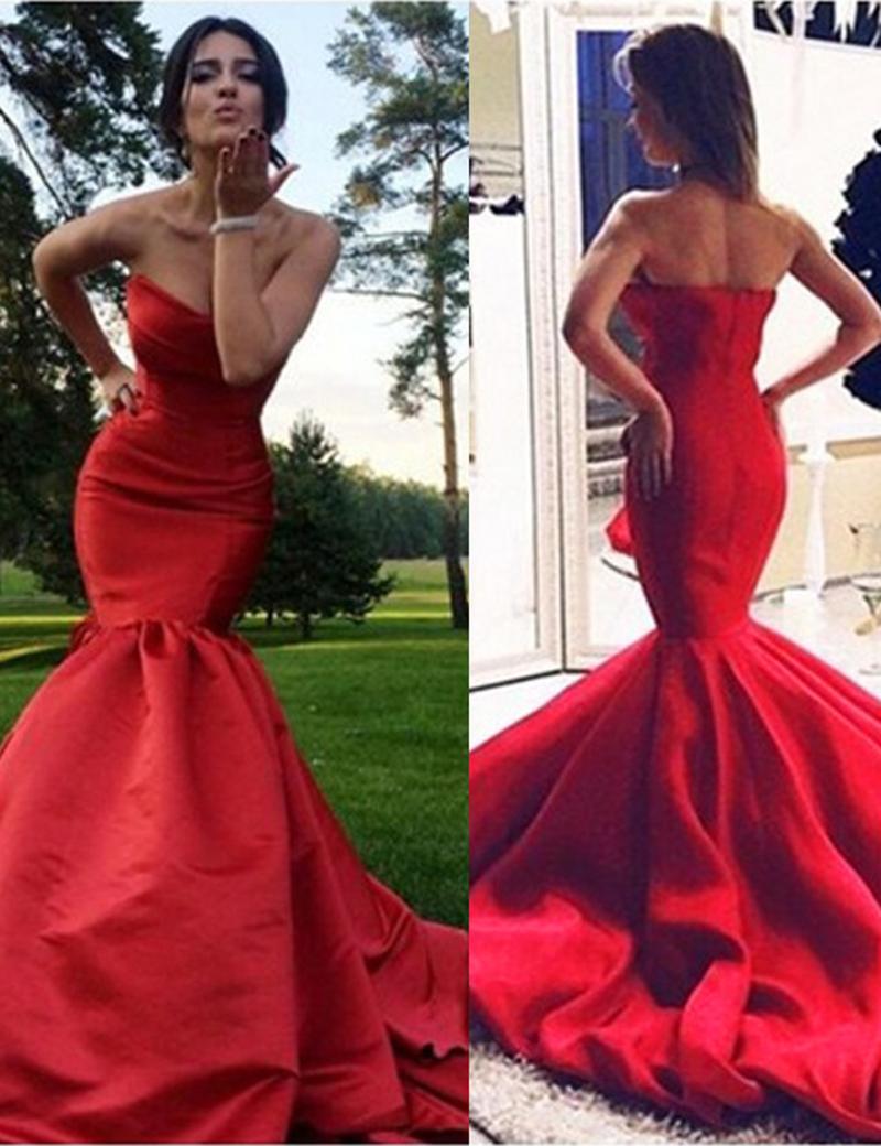 Mermaid Sweetheart Sleeveless Sweep Train Red Satin Prom Dress