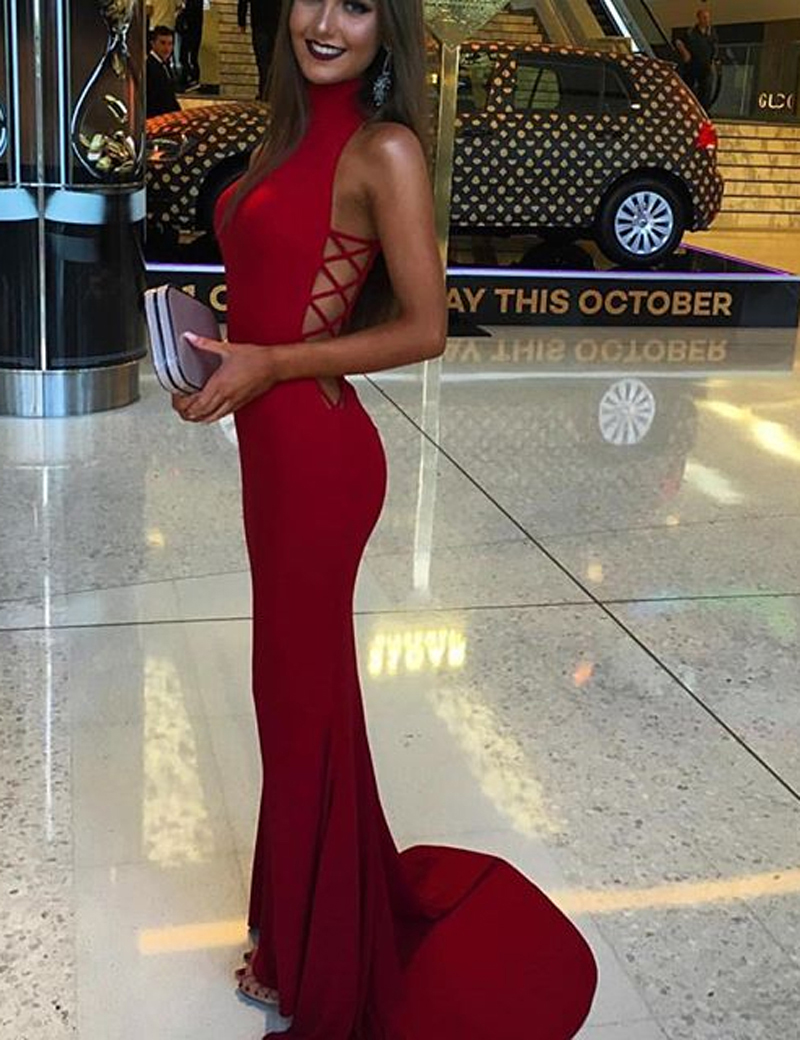 Mermaid High Neck Sleeveless Sweep Train Red Prom Dress Cut Out фото