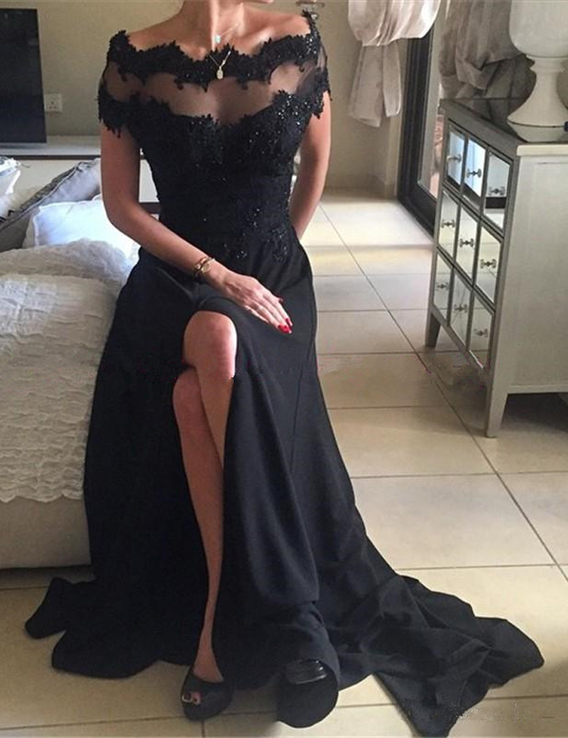 A-Line Off-the-Shoulder Short Sleeves Sweep Train Black Prom Dress фото