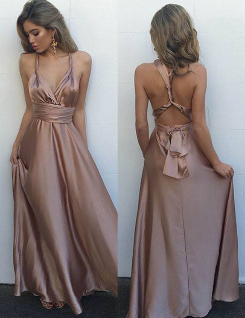A-Line V-Neck Floor-Length Blush Elastic Satin Multi-way Prom Dress фото