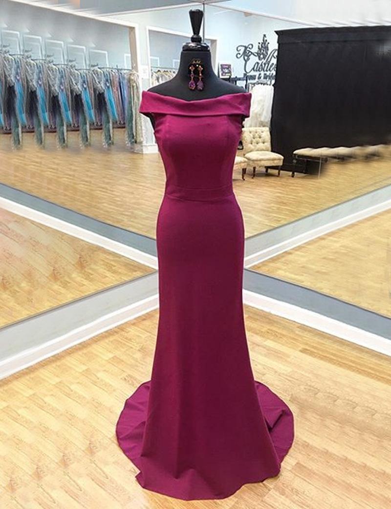Simple-dress / Sheath Off-the-Shoulder Cap Sleeves Sweep Train  Burgundy Prom Dress