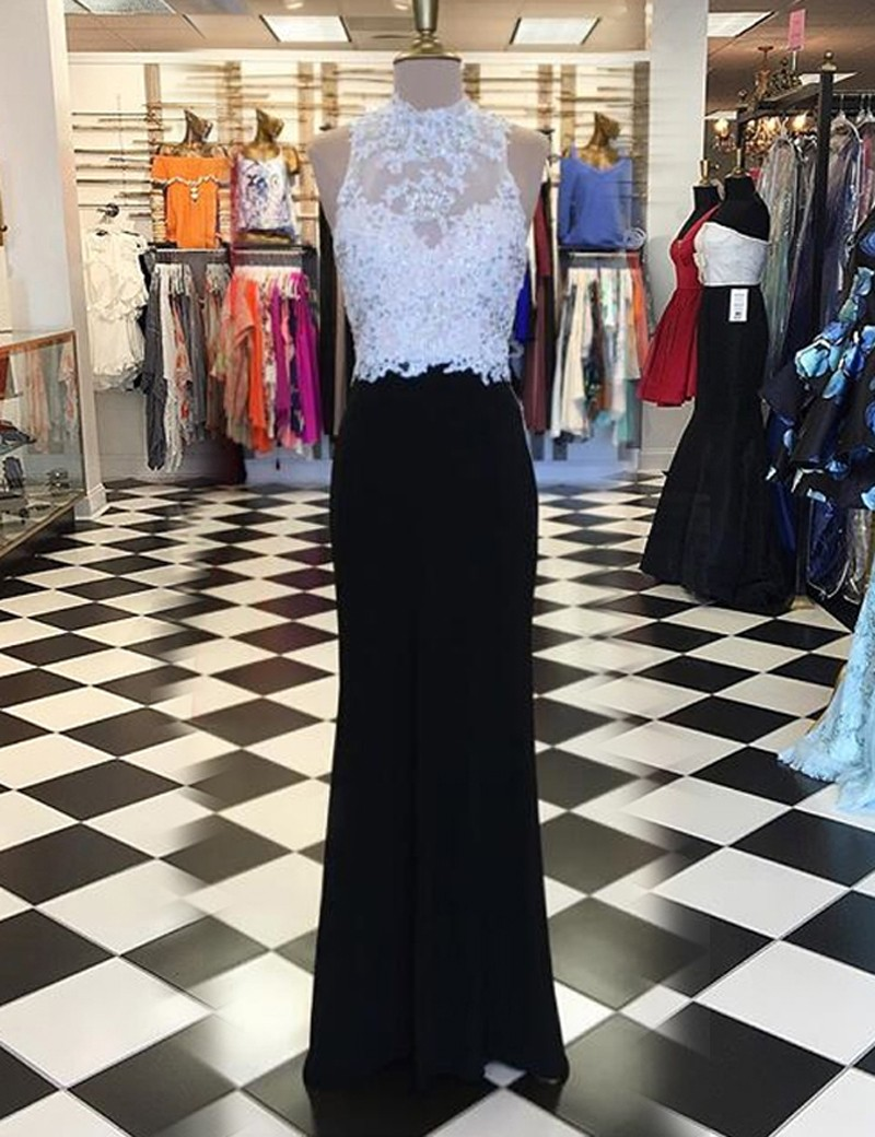 Sheath High Neck Open Back Long Black Prom Dress with Beading Appliques