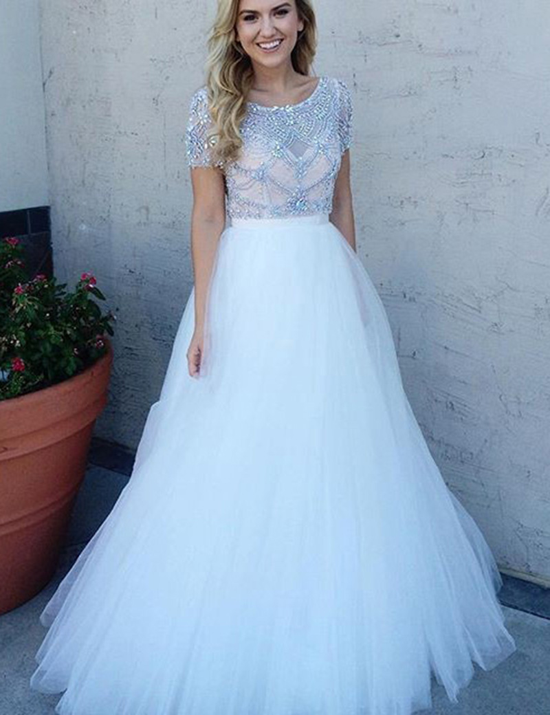 A-Line Short Sleeves Bateau Floor-Length White Prom Dress with Beading фото