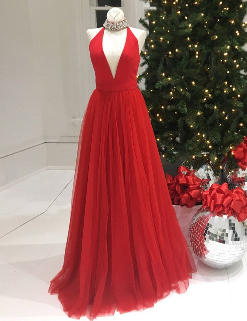 A-Line Halter Sleeveless Floor-Length Red Prom Dress with Beading фото
