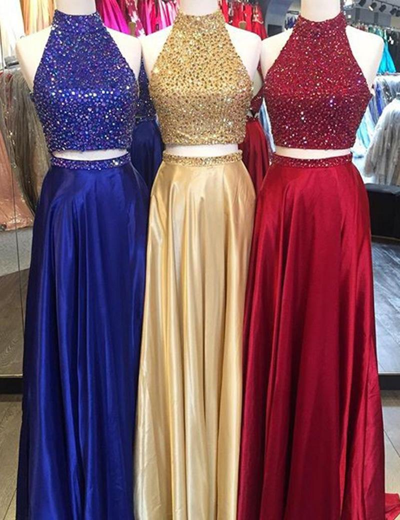 Two Piece Halter Sleeveless Floor-Length Prom Dress with Beading фото