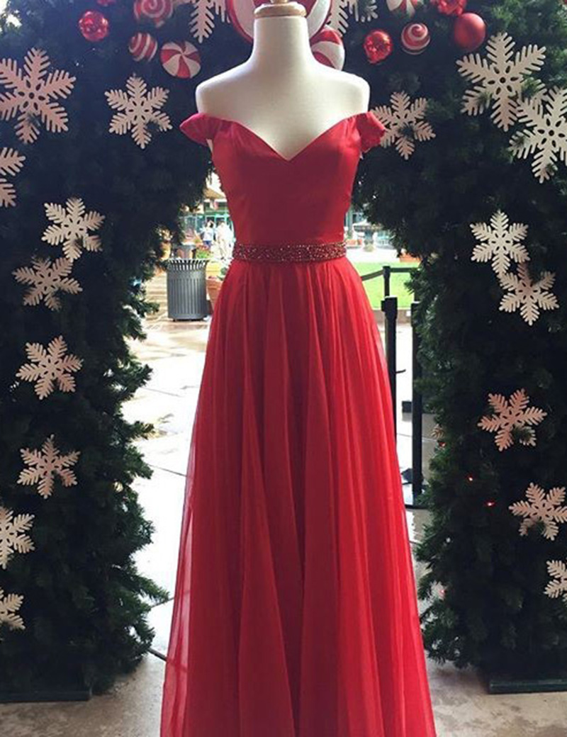 A-Line Off-the-Shoulder Floor-Length Red Tulle Prom Dress with Beading фото