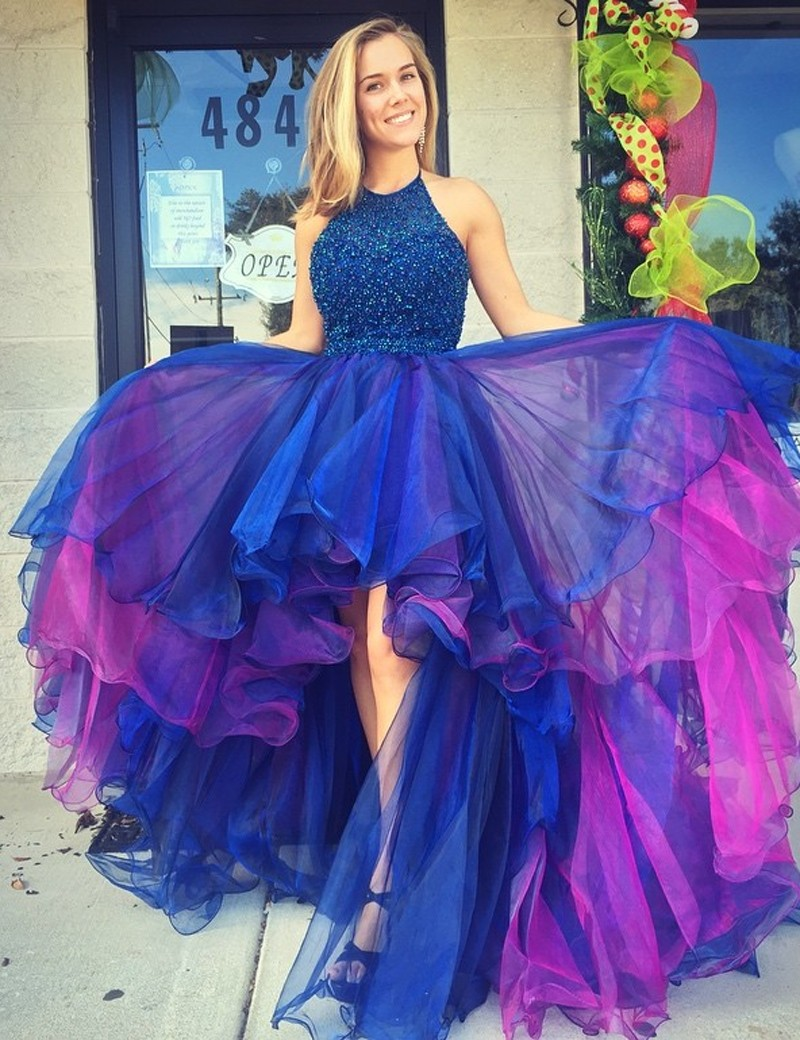 A-Line Halter Hi-Lo Royal Blue Organza Prom/Homecoming Dress with Beading Ruffles фото