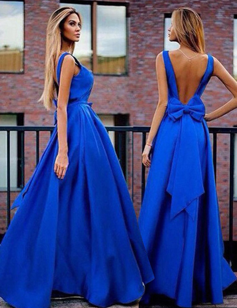 A-Line V-Neck Sweep Train Backless Royal Blue Prom Dress with Bowknot Pleats фото