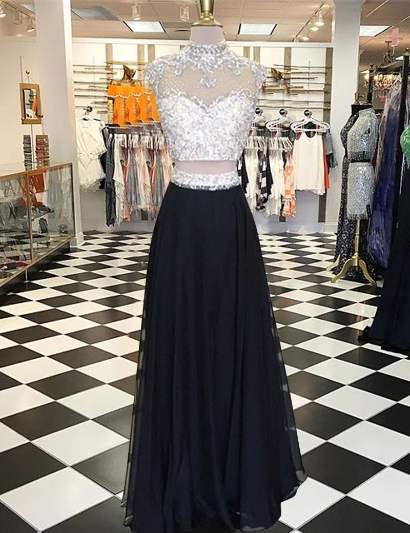 Two Piece High Neck Cap Sleeves Open Back Black Prom Dress with Beading