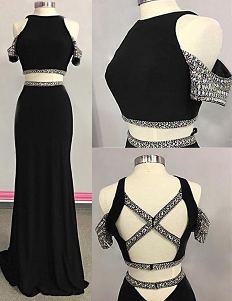 Sheath Jewel Sweep Train Open Back Black Prom Dress with Beading фото